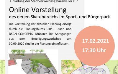 Online Vorstellung des neuen Skatebereichs im Sport- und Bürgerpark